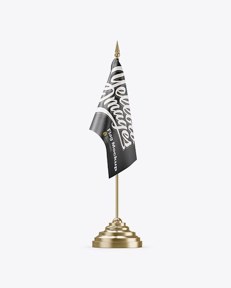 Glossy Desk Flag Mockup