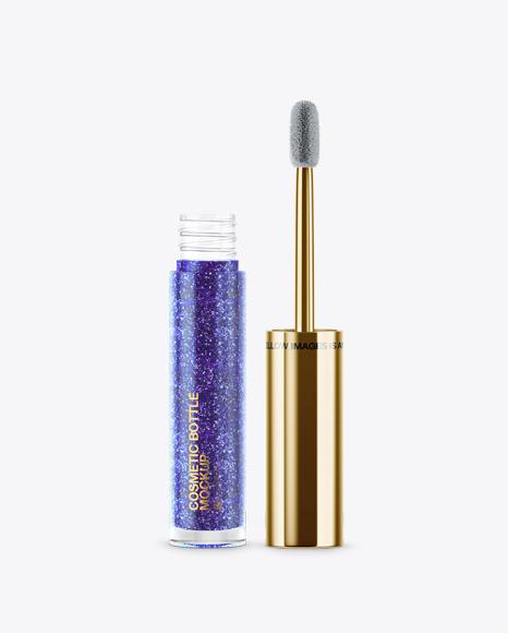 Opened Cosmetic Glossy Metallic Bottle Mockup