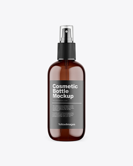 Amber Plastic Cosmetic Bottle w/ Transparent Cap Mockup