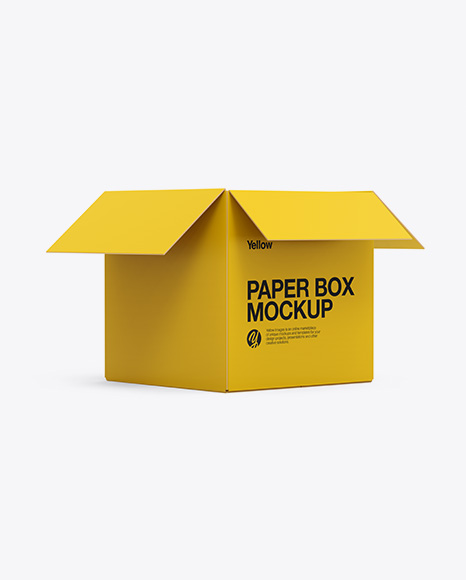 Opened Paper Box Mockup - Half Side View