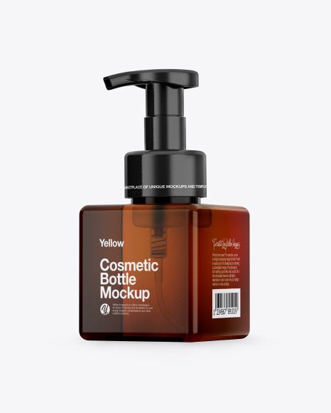 Amber Cosmetic Bottle Mockup - Half Side View