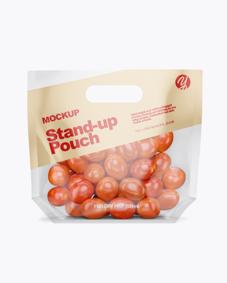 Glossy Transparent Stand-Up Pouch W/ Tomatos Mockup - Front View