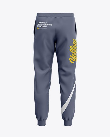 Men's Cuffed Sweatpants Mockup - Back View