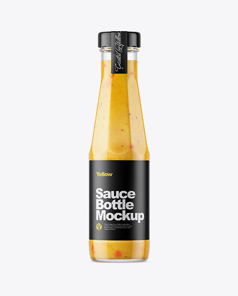 Clear Glass Bottle with Сurry Sauce Mockup