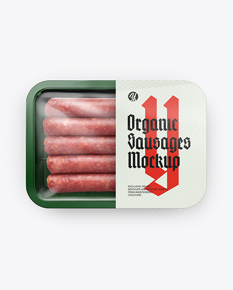 Plastic Tray With Sausages Mockup