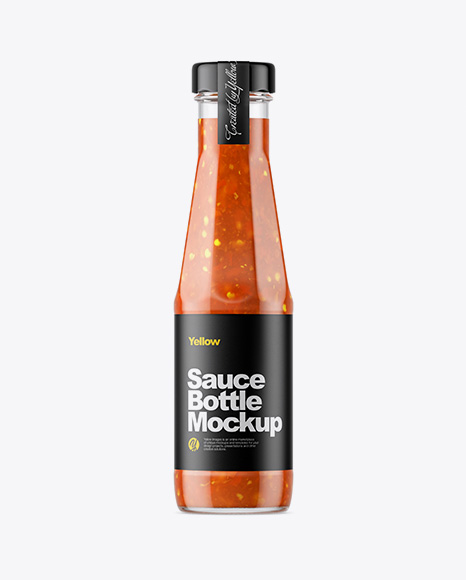 Clear Glass Bottle with Sweet and Sour Sauce Mockup