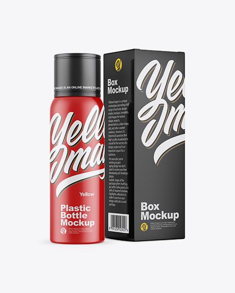 Matte Plastic Bottle w/ Paper Box Mockup