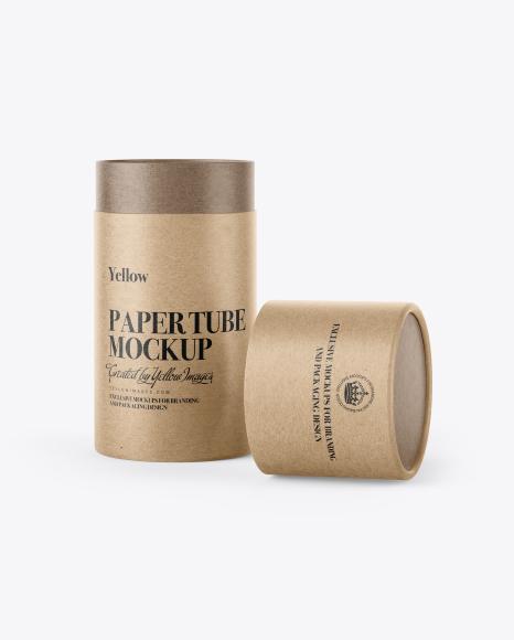 Opened Kraft Paper Tube Mockup