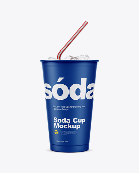 Matte Plastic Soda Cup With Ice Mockup