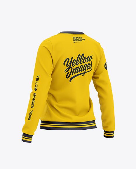 Women's Crew Neck Sweatshirt - Back Half Side View
