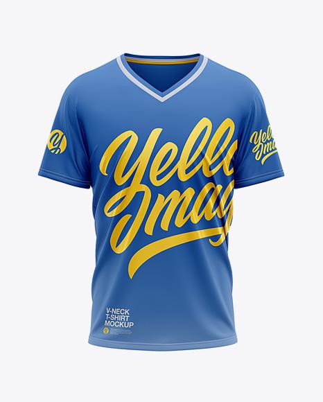 Men's Loose Fit V-Neck Graphic T-Shirt – Front View