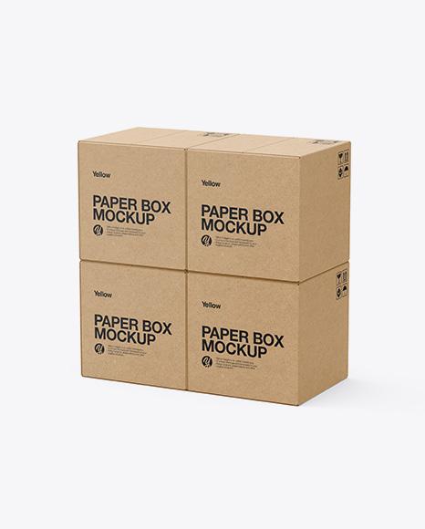 Four Kraft Boxes Mockup - Half Side View