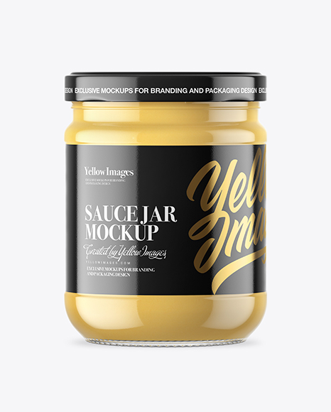 Clear Glass Cheese Sauce Jar Mockup