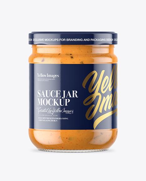 Clear Glass Chipotle Sauce Jar Mockup