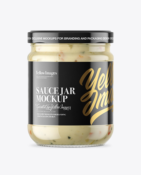 Clear Glass Garlic Sauce Jar Mockup
