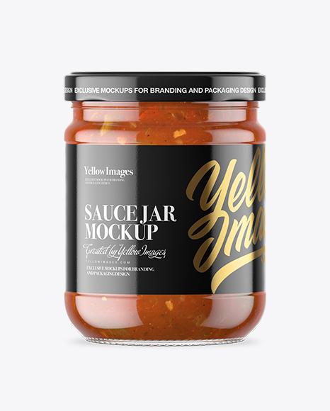 Clear Glass Taco Sauce Jar Mockup