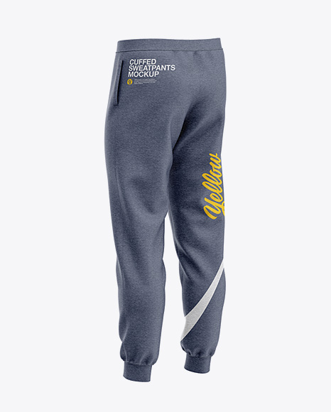 Men's Heather Cuffed Sweatpants - Back Right Half-Side View
