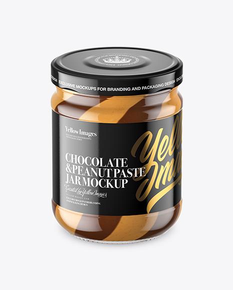 Clear Glass Jar with Duo Chocolate Spread Jar Mockup