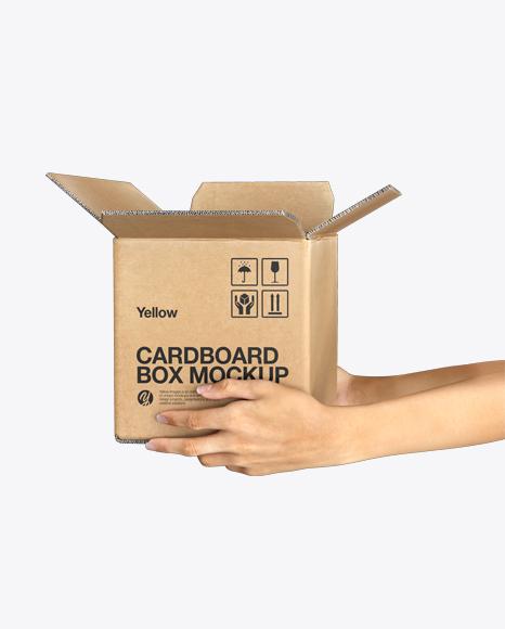 Opened Cardboard Box with Hands Mockup