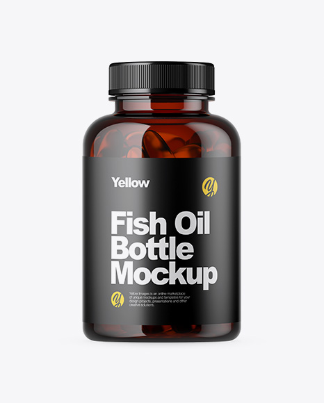 Amber Bottle with Fish Oil Mockup