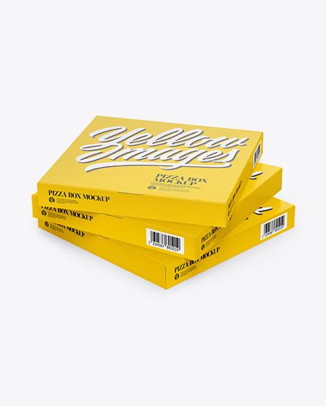 Three Pizza Paper Boxes Mockup