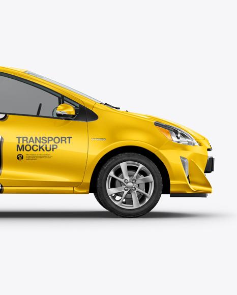 Hybrid Hatchback Car Mockup - Side View
