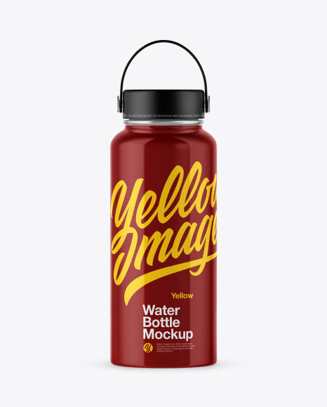 Glossy Wide-Mouth Water Bottle Mockup