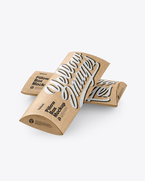 Two Kraft Paper Pillow Boxes Mockup