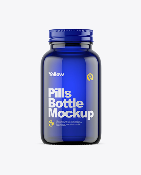 Empty Dark Blue Glass Pills Bottle Mockup