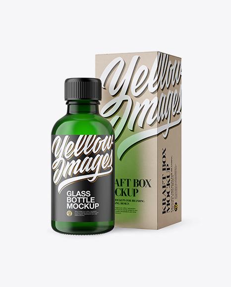 50ml Green Glass Сosmetic Bottle W/ Kraft Box Mockup