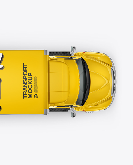 Download Box Truck Mockup - Top View in Vehicle Mockups on Yellow ...