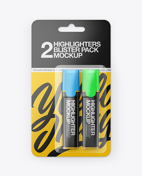 Blister Pack of 2 Highlighters Mockup