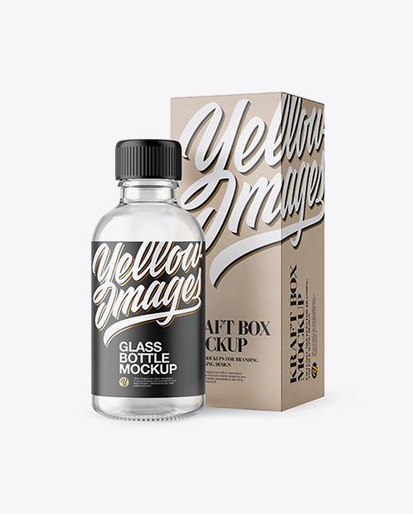 50ml Clear Glass Сosmetic Bottle W/ Kraft Box Mockup