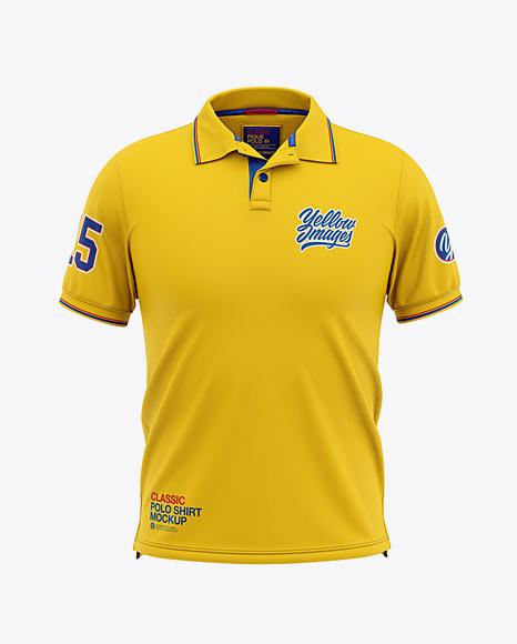 Men's Short Sleeve Pique Polo Shirt - Front View