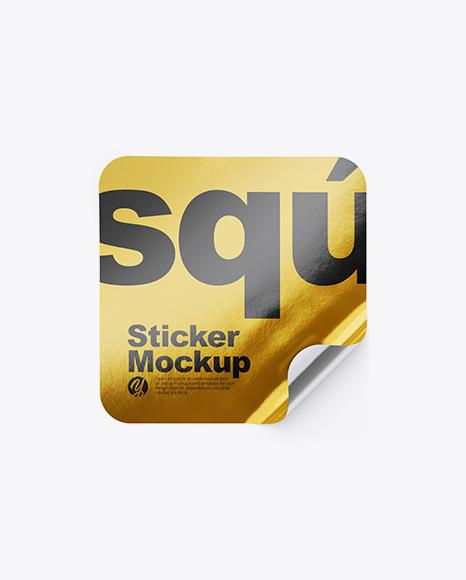 Metallic Square Sticker Mockup