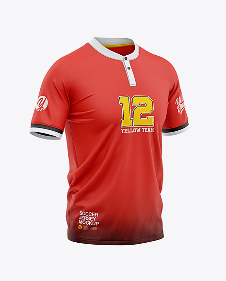 Men's Soccer Henley Collar Jersey Mockup - Front Half-Side View