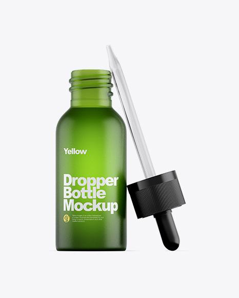 Frosted Green Glass Dropper Bottle Mockup