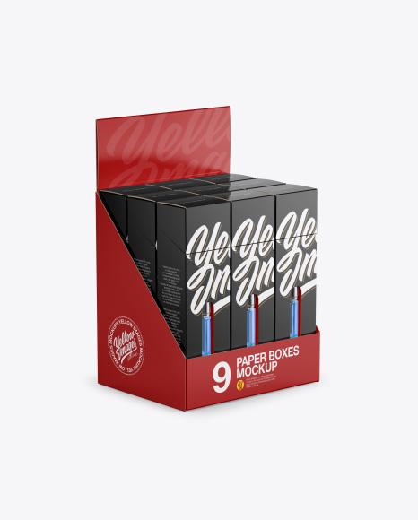 9 Boxes w/Vape Cartriges Display Box Mockup