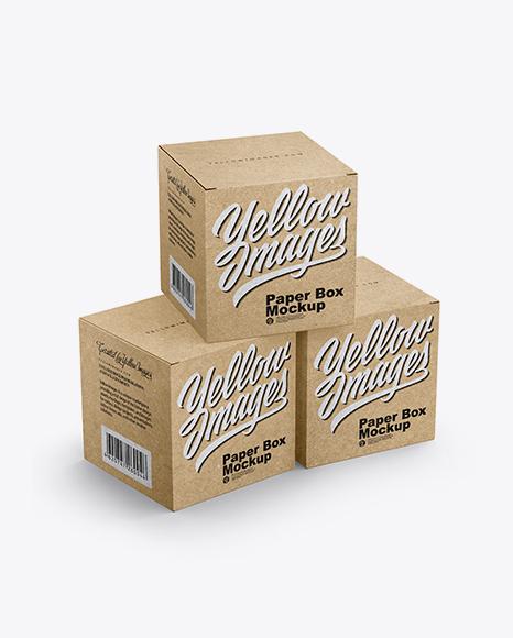 Three Kraft Boxes Mockup