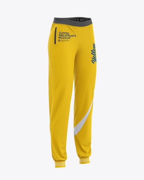 Women's Cuffed Sweatpants Mockup - Front Half Side View