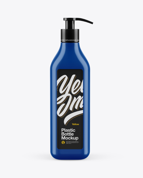 Glossy Square Bottle With Pump Mockup