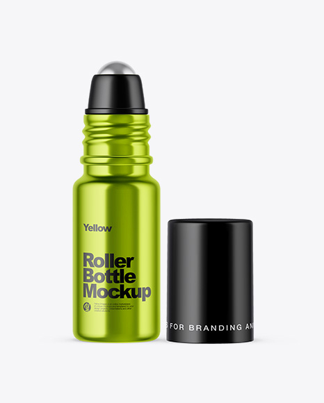 Metallized Roller Bottle Mockup