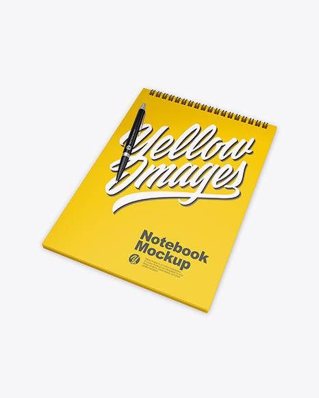 Glossy Notebook w/ Pen Mockup