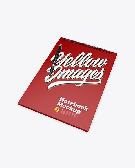 Matte Notebook w/ Pen Mockup