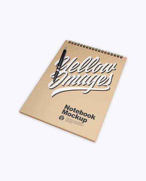 Kraft Notebook w/ Pen Mockup