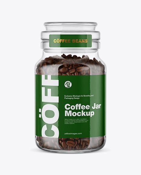 Coffee Beans Glass Jar Mockup
