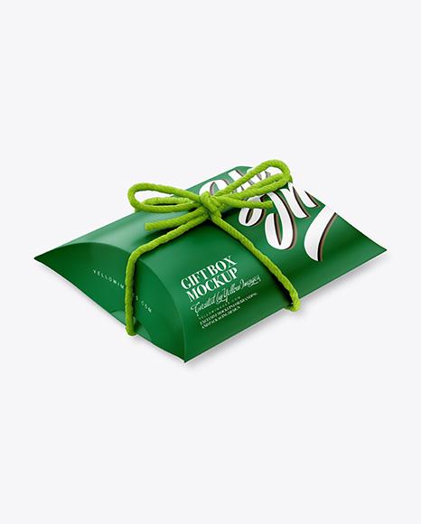 Matte Gift Box w/ Thread Bow Mockup
