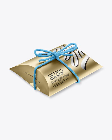 Metallic Gift Box w/ Thread Bow Mockup
