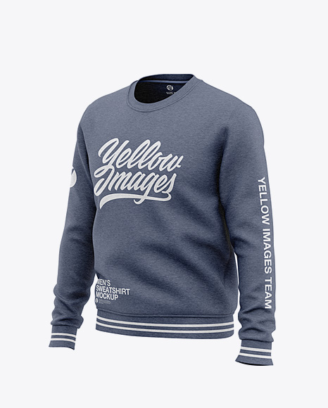Men's Heather Crew Neck Sweatshirt - Front Half Side View