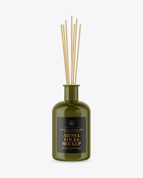 Glossy Bottle with Aroma Sticks Mockup